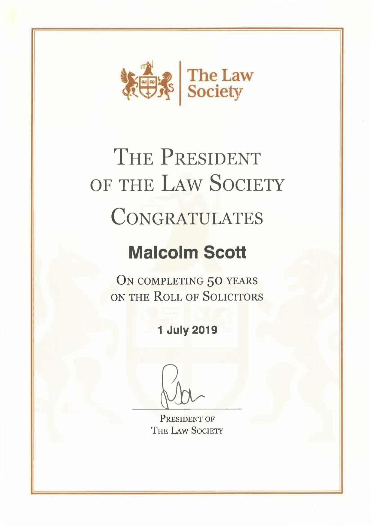Law Society 50 year certificate Malcolm Scott